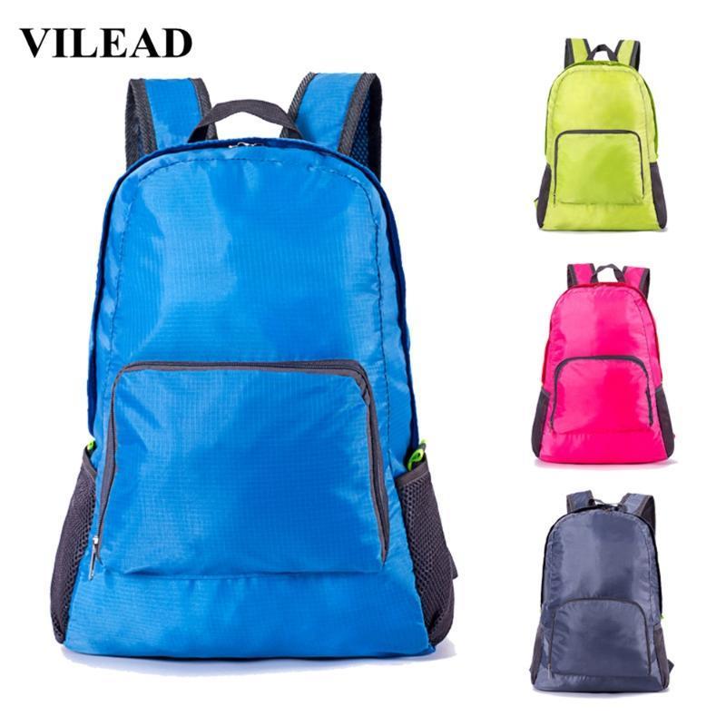 Vilead Sólidos ombro dobrável Nylon Bag Waterproof Outdoor Camping Caminhadas Viagem Backpack aptidão portátil Homens Mulheres saco de desporto