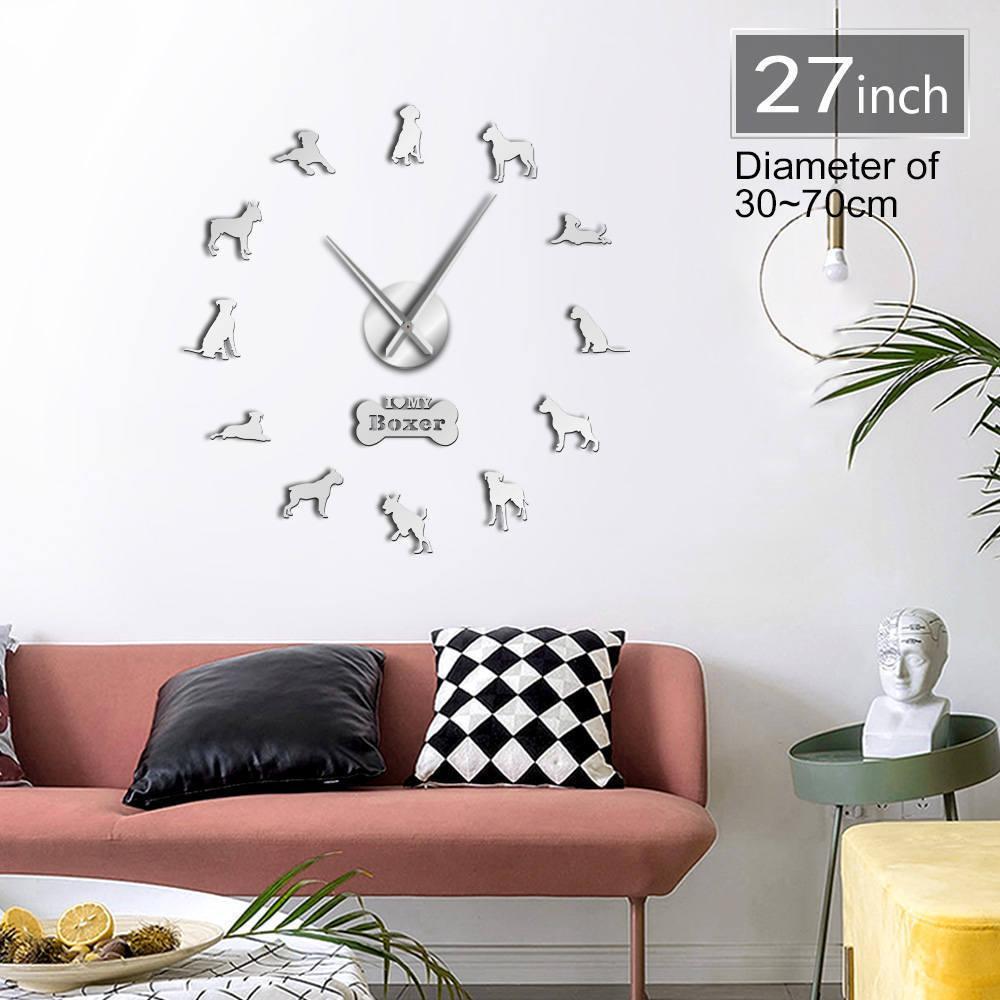 Boxer Dog Race 3D DIY Horloge murale Salon Séjour unique Acrylique Design idée cadeau pour chiot chiot chien amoureux personnalisé montre horloge personnalisé LJ201204