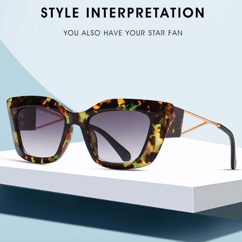 Sunglasses Retro Big Frame Cat Eye Women Men 2021 Gradient Designer Fashion Street Shooting Gafas So