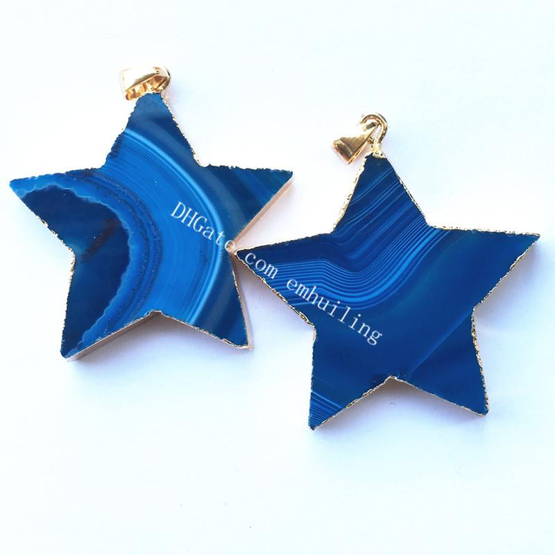 50Pcs Polished Pretty Dyed Blue Purple Green Rose Red Natural Banded Striped Agate Five Pointed Star Luck Charm Pendant with Gold Plated Rim