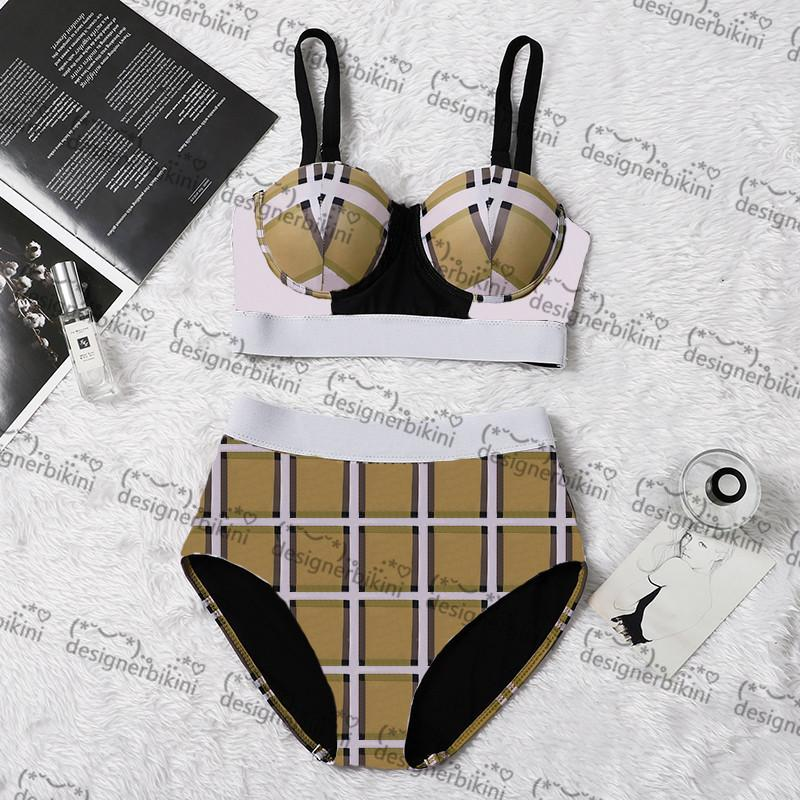 Sexy xadrez bikinis designer acolchoado feminino swimsuits ao ar livre praia turismo férias sexy bandagem push up swimwear