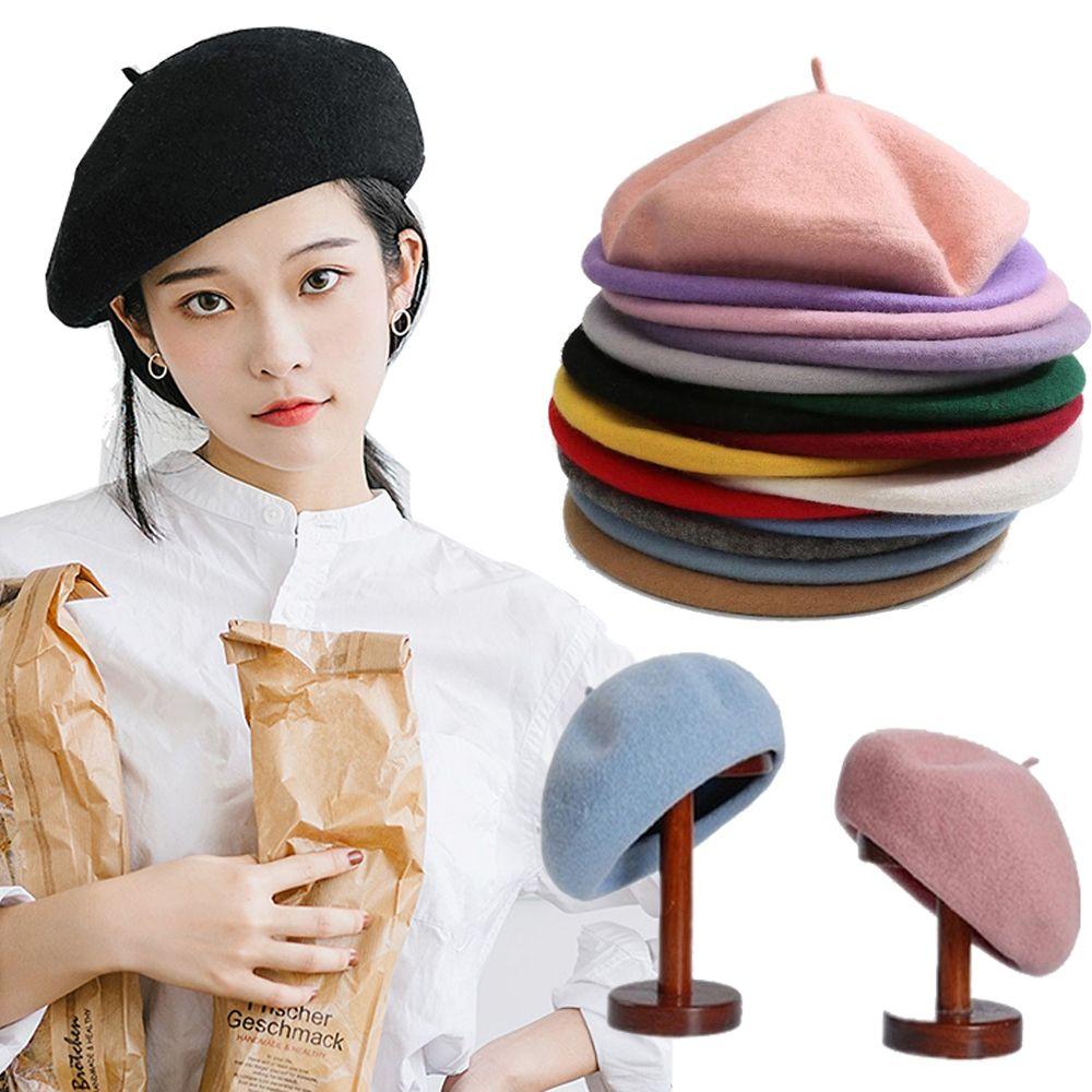 فتاة النساء القبعات الفرنسية الفنان قبعة من الصوف الدافئة في فصل الشتاء قبعة القبعات كاب خمر عادي القبعات القبعات الصلبة اللون أنيقة قبعات سيدة الشتاء