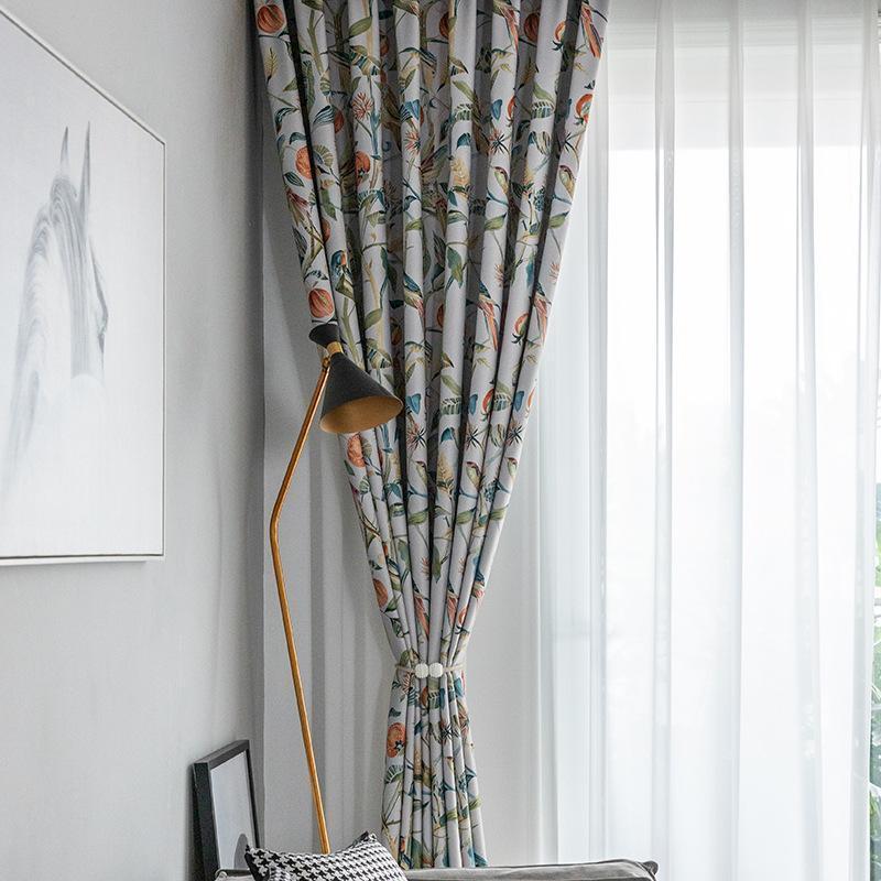 Занавес Drapes [Урожай и птицы] Печатные шторы Современные Простые для гостиной Спальня Исследование Двусторонние MABLackout