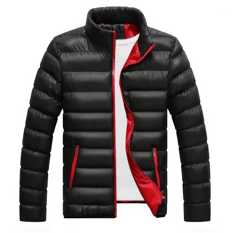 Veste d'hiver Hommes Parkas 2020 Nouveau coton rembourré épais vestes d'épaisseur Parka Slim Haute manches longues matelassées à manches courtibles à col montant