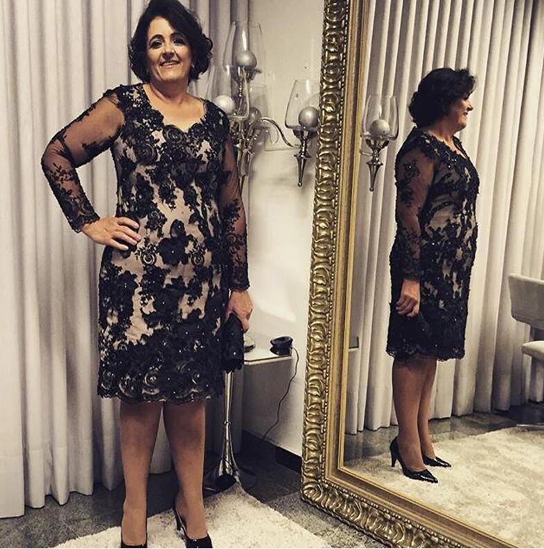 Ucuz siyah anne gelin elbiseler uzun kollu keskin uzunluk dantel aplike artı boyutu örgün akşam parti elbisesi elbiseler