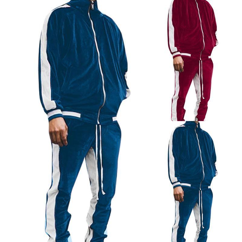 Gym Clothing Men Tracksuit Set Contrast Color Velet Lapel Casual Sportswear Suit Hoodie Sweatshirt Long Sleeve Zipper And Pants Winter