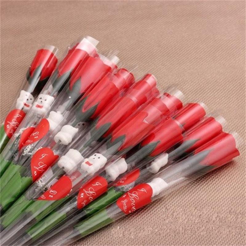 Love Heart Sticker Single Flower Flower Flower Ornamento di nozze rose rosse Bianco Bear Valentine Day Fiori di seta artificiale Party 0 48tn G2