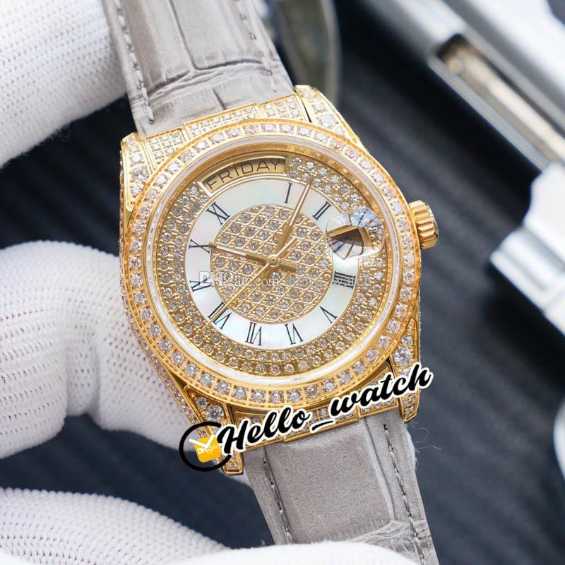 Новый 36 мм Дата 14 день Дата 118348 ETA 2836 Автоматические мужские часы Полный алмазный циферблат Rome Mark Rose Gold Серые кожаные часы HWRX HELLO_WATCH