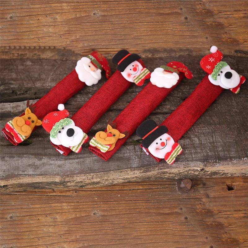 4pcs / set di Natale Frigorifero Porta Covers Santa Snowman elettrodomestico da cucina Covers Frigorifero Forno a microonde Lavastoviglie maniglia Protector NWF2134