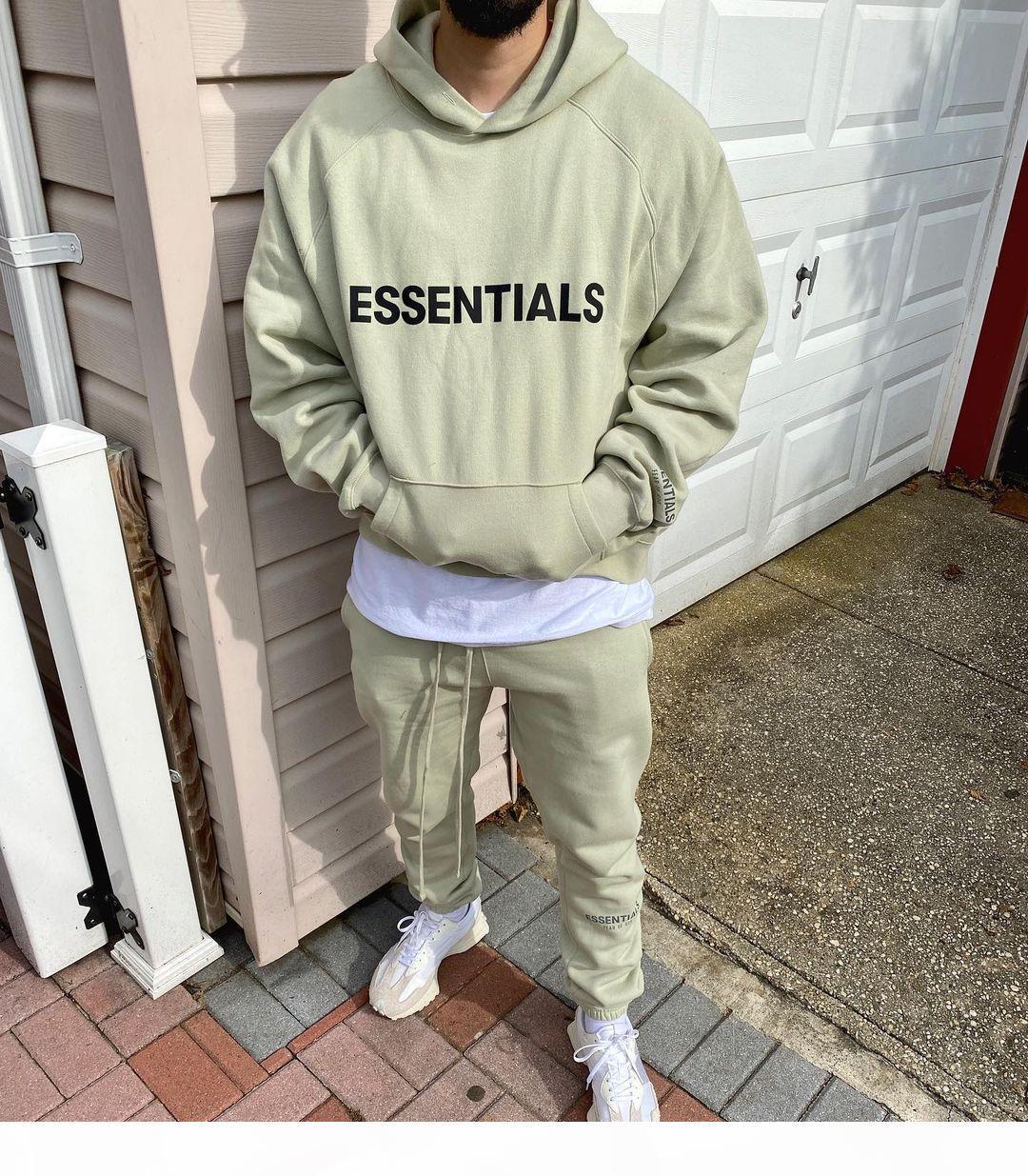 Nebel Angst vor Gott Essentials SS20 Pullover Hoodie 3D Silicon Applique Front Logo Fleece Hoodie Casual Oversize Sweatshirt Hip Hop Streetwear
