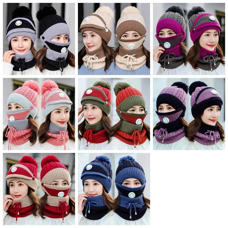 Malha Chapéus Máscaras Scarf Set Gorros com válvula Maks lenço do inverno de lã pompom Sets Hat Casual chapéus do partido lenços Suprimentos AHB3091