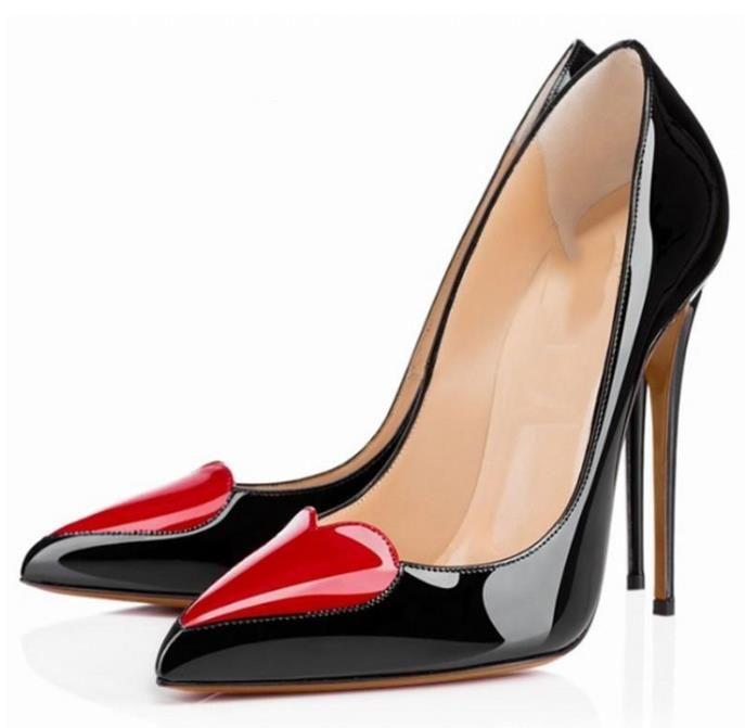 дамы женщин насосов высоких каблуках обувь женщина партия свадебное платье OL заостренный носок обуви стилет в форме сердца