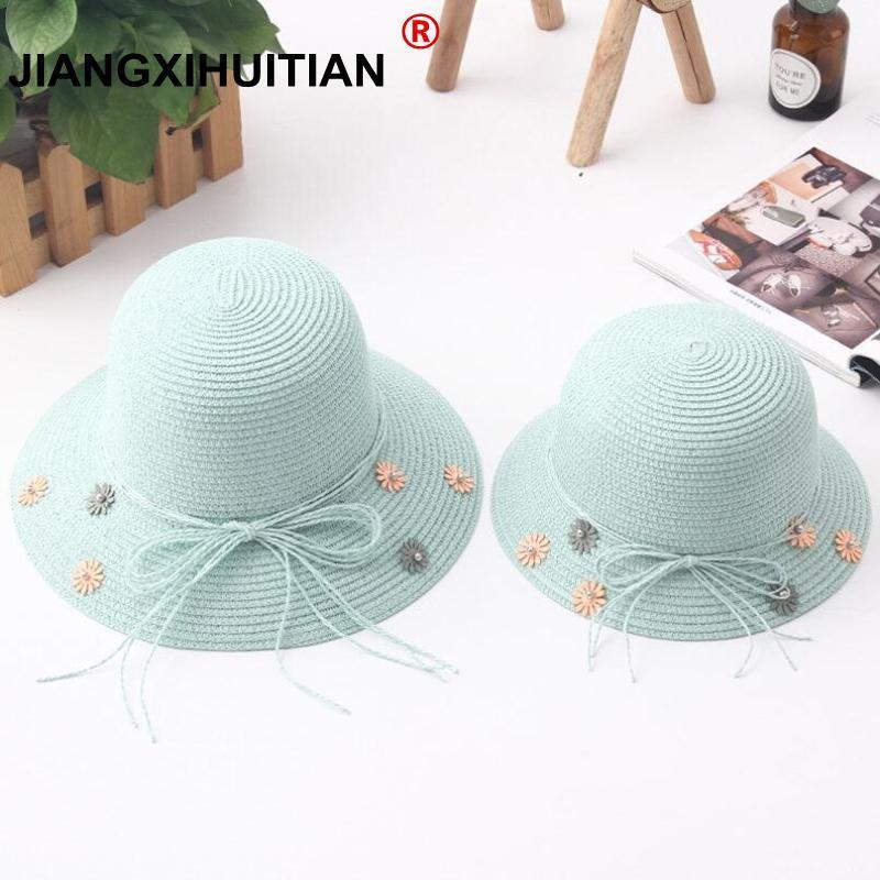Mode Eltern-Kind-nette Blumensonnenhüte Mädchen handgemachte Stroh Welle breite Randsonnehüte leger Schatten Hutsommer Frau Strand Hut