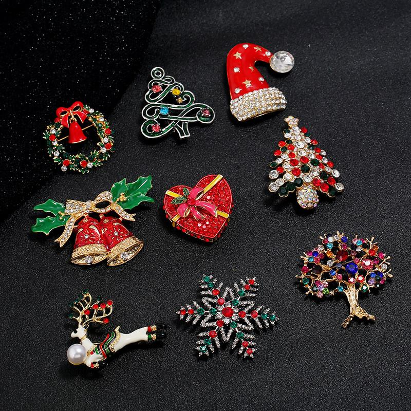 New Vintage Silver Gold Santa Hat Xmas Tree Brooch Pin Jewelry For Women Fashion CZ Zircon Christmas Brooches Mix Styles
