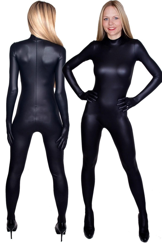 Mulheres Sexy Body Terno Teets Trajes com Zíper Frontal Sexy Black Brilhante Metálico Terno Catsuit Trajes Fantasia Vestido Cosplay Trajes M390