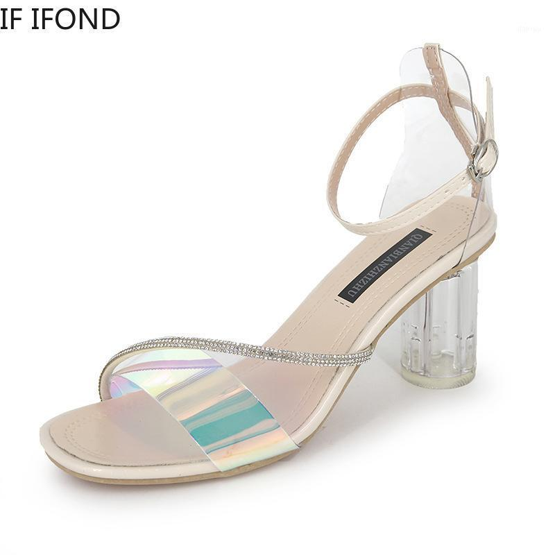 IF IFOND Women Sandals Summer Woman Transparent Pumps Woman Open Toe Dress Wedding Sexy Square Toe Fashion Clear Heel Shoes1