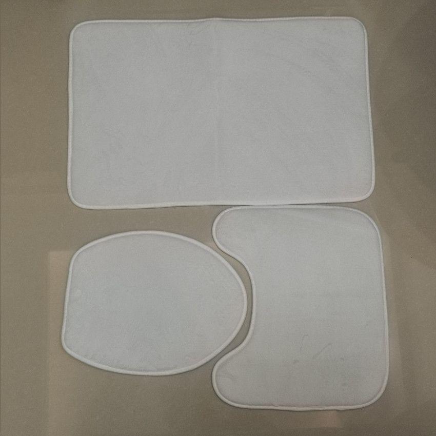 3 pcs Sublimation Bathroom Conjuntos Banheira Em Branco Mats Flannel WC Pads Transferência Térmica Branco Coberturas Rápido Frete Grátis A12