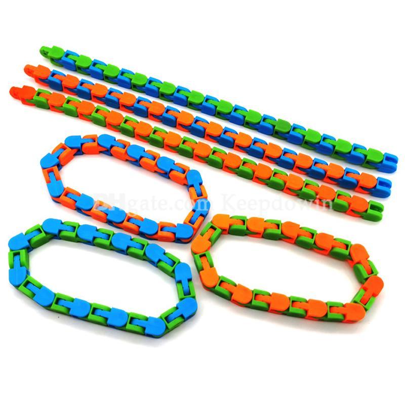 Pistas de Wacky Snap y haga clic en Fidget Toys Snake Puzzles Tangle Fidget Juguetes para niños adultos adhd Autismo autismo alivio de estrés Dedos de alivio concurridos