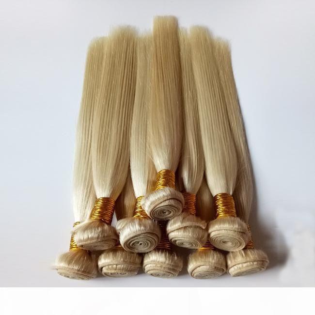 Бразильские европейские девственницы человеческие волосы шелковистые прямые плетения новые 613 # женские мягкие и гладкие перуанские ремискими наращивания волос 3 4 100 шт. Лот