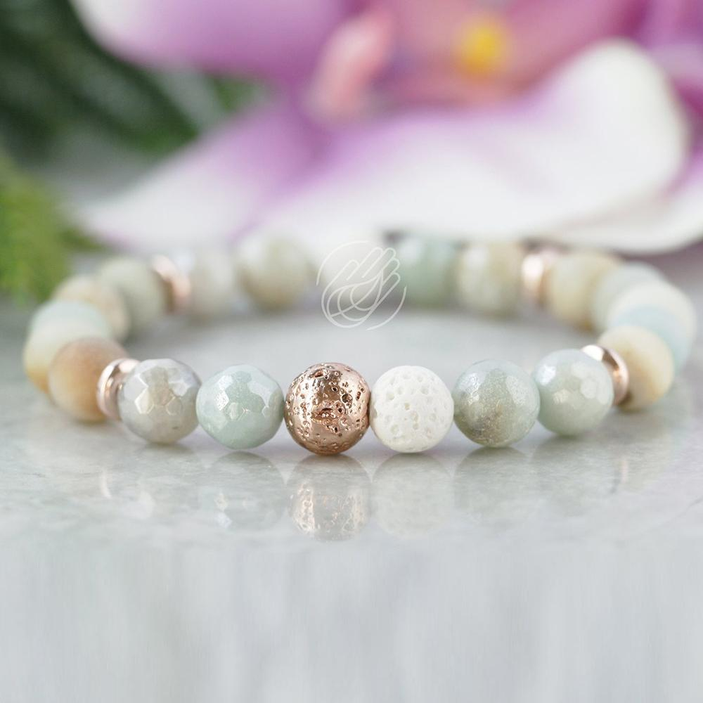 MG1099 Amazonite Rose Color Lava Stone Bracelet High Quality Essential Oil Diffuser Bracelet Anxiety Relief Aromatherapy Jewelry