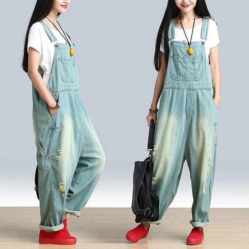 Fashion 2021 Primavera Verão Mulheres Casuais Buracos Plus Size Solta Denim Macacão Correias Babão macacão Jumpsuit Jeans Macacões W301