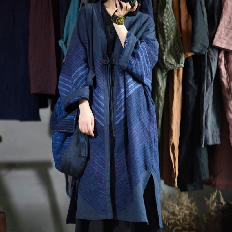 여성의 트렌치 코트 juatuat fashion style 레트로 패치 워크 스트라이프 긴 레이스 윈드 브레이커 2021 가을 여성 면화 린넨 느슨한 플러스 사이즈