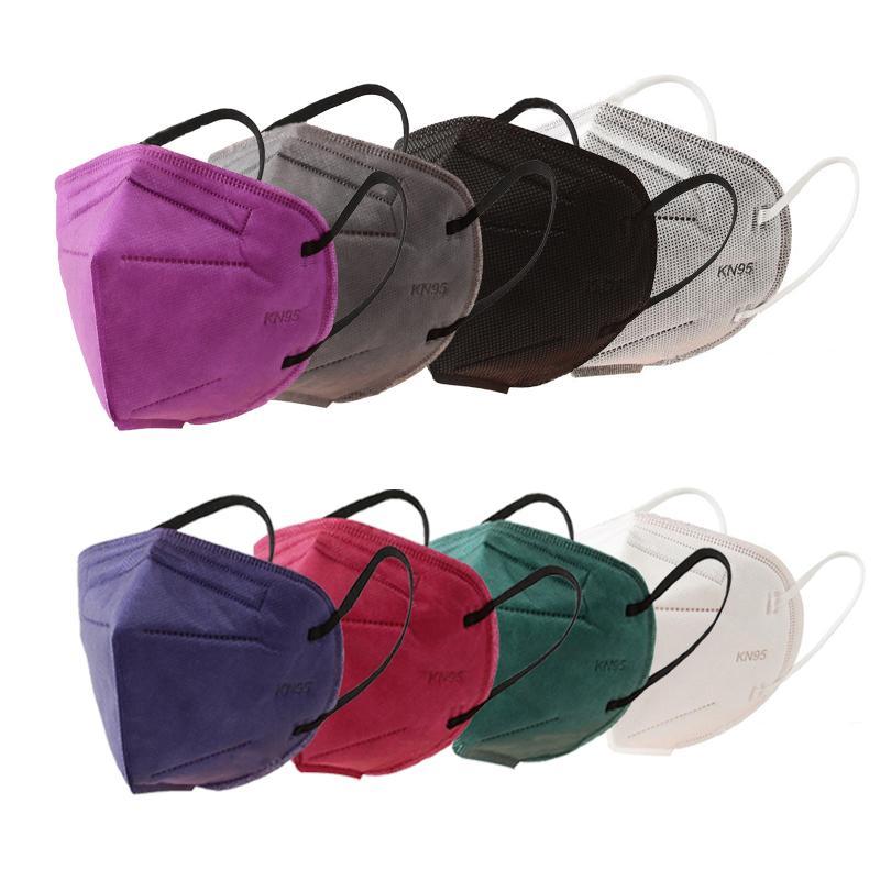 KN95 6 telas tejidas desechables cara no Mascarilla facial máscaras de protección Earloop anti-polvo blanco Cara Azul Negro