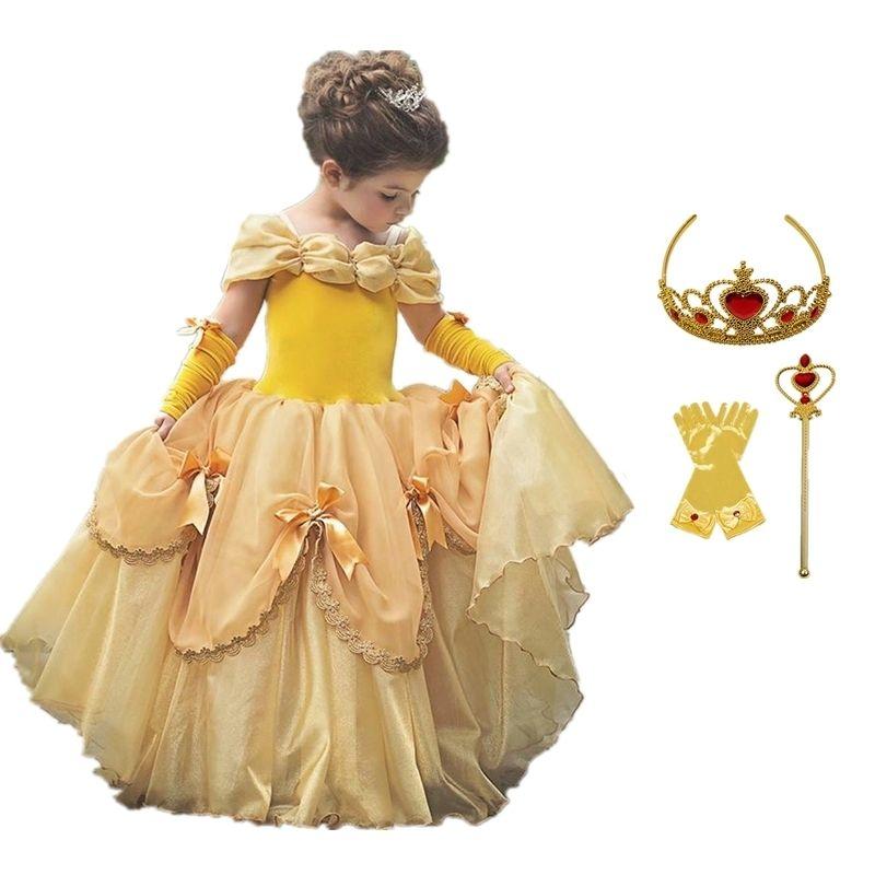 Cosplay Baby Girls Abbigliamento Principessa Vestito Giallo Girls Girls Costume di Halloween Abiti per bambini per ragazze Partito travestito Fantasia Vestido 201130