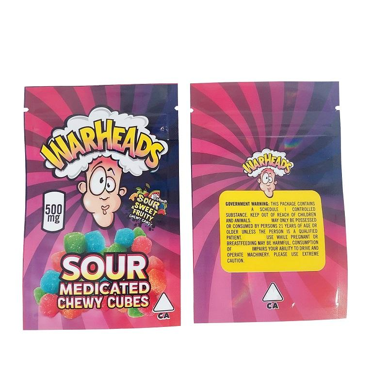 500mg Warheads Bag Sacchetto Vendita calda Sour Sweet Sweet Frudito Medy Medy Cubi Chewy Cubetti Edibles Gummies Warheads Caramelle Pacchetto Borse