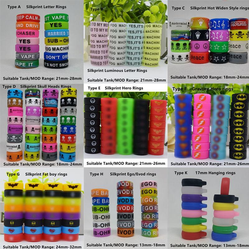 DHL Hottest 9 Types Silicone Vape Band Colorful Rubber Cover Bag Rings Welcome OEM Custom Logo For 13mm-32mm Ecig Mod Sub Ohm Tank