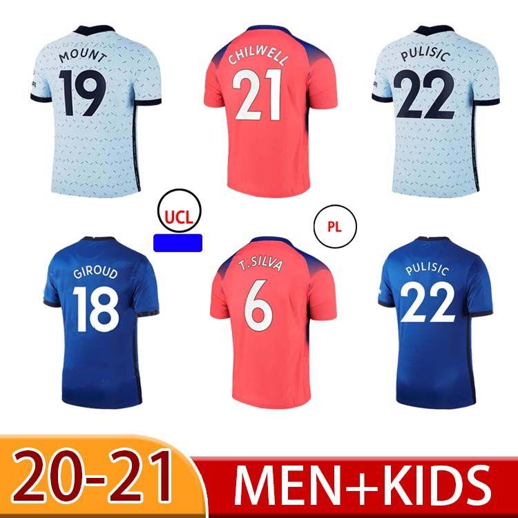 20 21 Mount Pulisic Mount Jerseys Kante Werner Ziyech Jersey Marcos A. Camisa Havertz Abraham Chiilwell Mens Kit Kit Camisa de Futebol