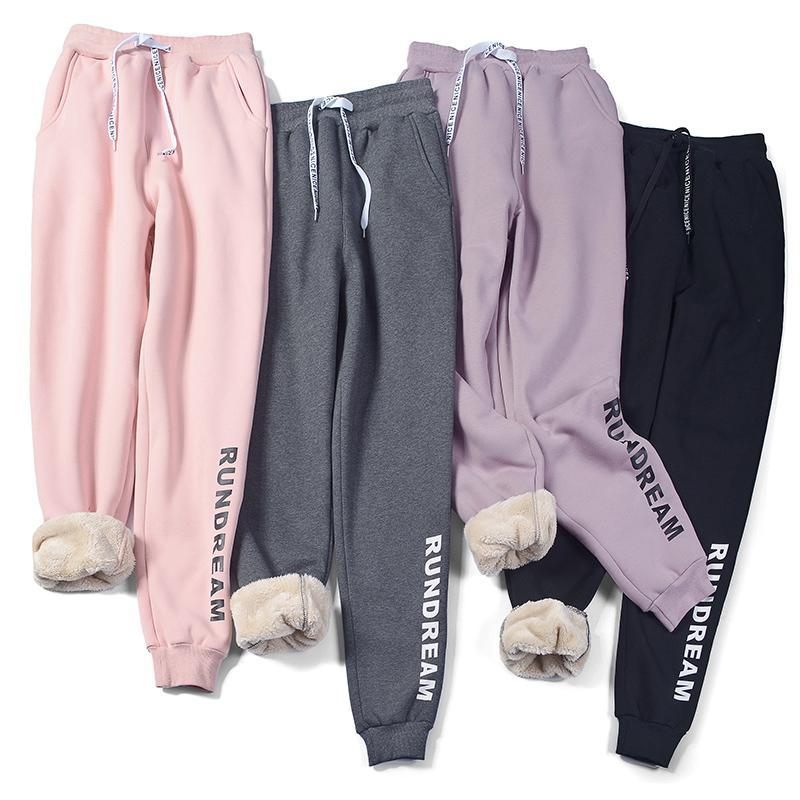 pantolon kadın gevşek Kalın sıcak kuzu peluş kış beden elastik bel İpli spor pantolon kadın pamuk pantolon harem