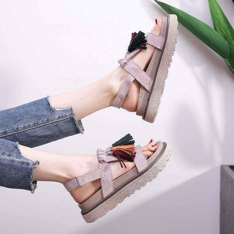 Sandálias LEOSOXS Plataforma Mulheres Sapatos Flat Casual Gladiador Plus Size 43 Praia Verão Feminino Calçado