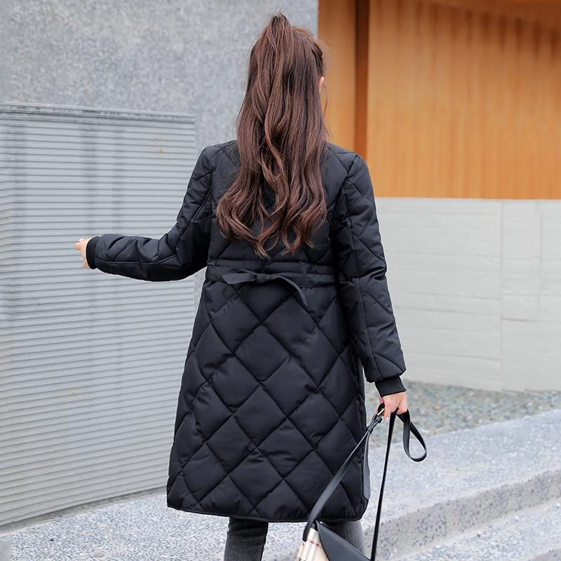 Kış Katı Uzun Ceket Kadınlar Sashes ile Yaka Standı Kadın Parkas Kalın Pamuk Yastıklı Artı Boyutu Dış Giyim Rahat Mont 201201