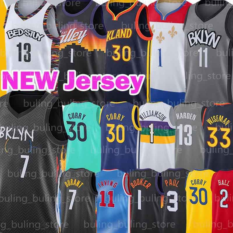 Kevin 7 Durant Jerseys Harden Devin 1 Bookorer Irving Zion Chris 3 Paul 11 ​​Kyrie Williamson Stephen 30 Curry Lonzo Wiseman Ball Basketball