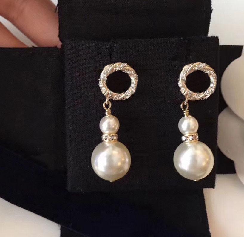 Nuovi orecchini per perle per perle per lady Donne Party Wedding Lovers regalo gioielli di fidanzamento per la sposa con scatola HB108.
