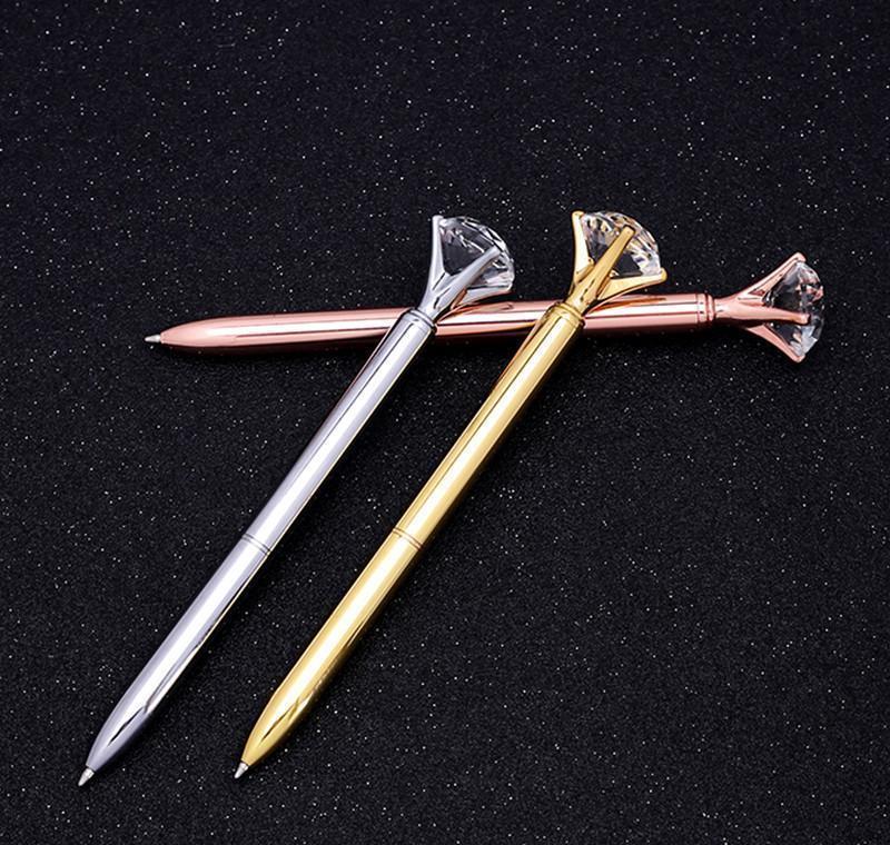 Luxo Metal Crystal Diamante Caneta 8 Cores Bolinhas Bola Penas Moda 19 Carat Grande Diamante Ballpoint Pen Jllpdk Hairersey