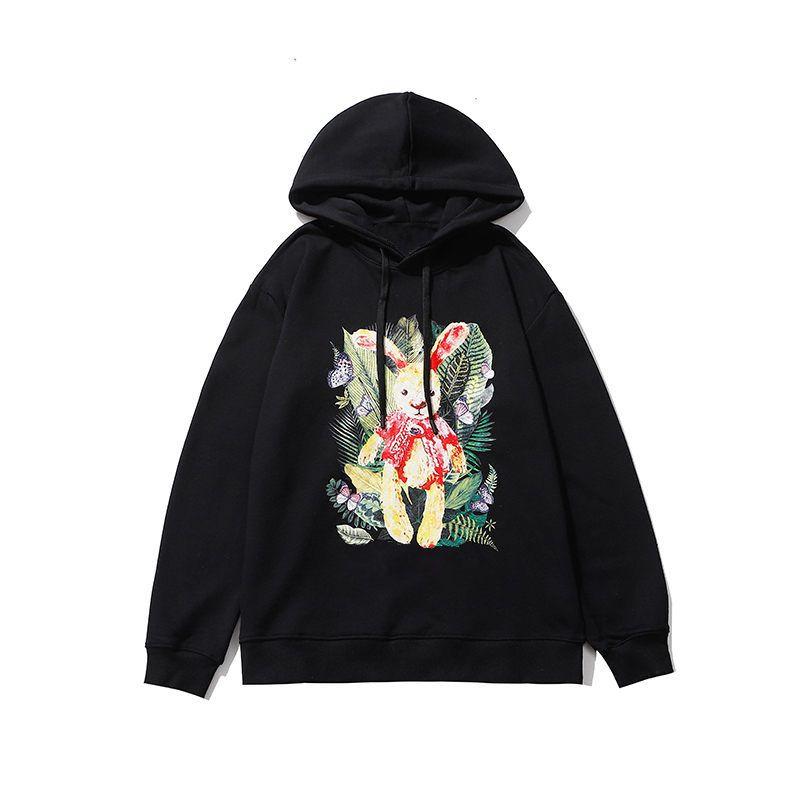 Fashion Mens Hoodie 20ss Vintage Stylish Long Sleeve Polo Hoodies Men Women Sweatshirt Pullover Comfortable Breathable Rabbit Print Hoodie