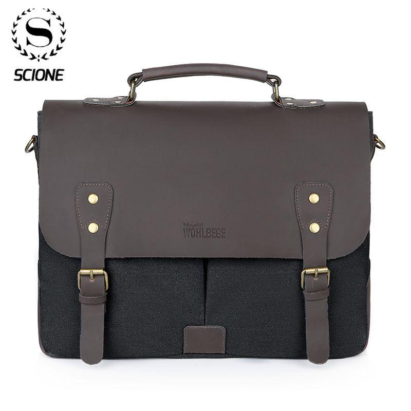 Scione Men's Briefcase Male Canvas PU Handbag Laptop Fashion Vintage Shoulder Casual Messenger Bags Large Travel Bag Q0112