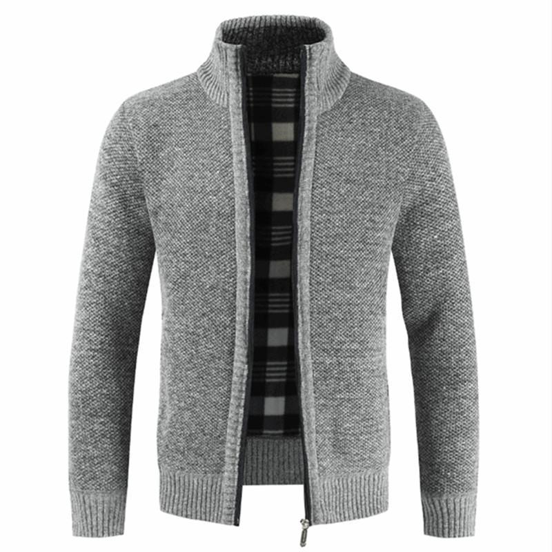 2019 Sonbahar Kış Yeni Erkek Ceket Slim Fit Yaka Fermuar Ceket Erkekler Katı Pamuk Kalın Sıcak Ceket Men Standı