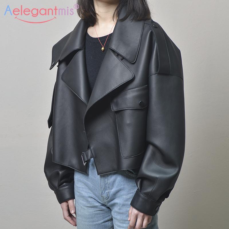 Aelegantmis Negro Corto suelta PU chaqueta de cuero chaqueta de otoño invierno suave de cuero de imitación de la calle casual chaqueta Outwear señoras del motorista 201016