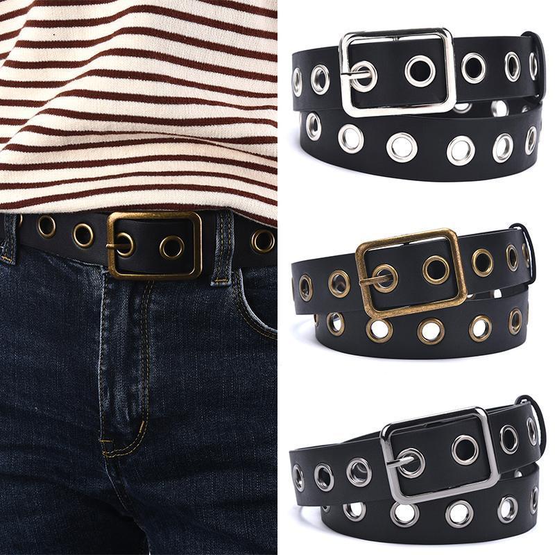 Женщины Панк цепи Мода пояса Регулируемый черный Single Ушко Grommet кожа пряжки