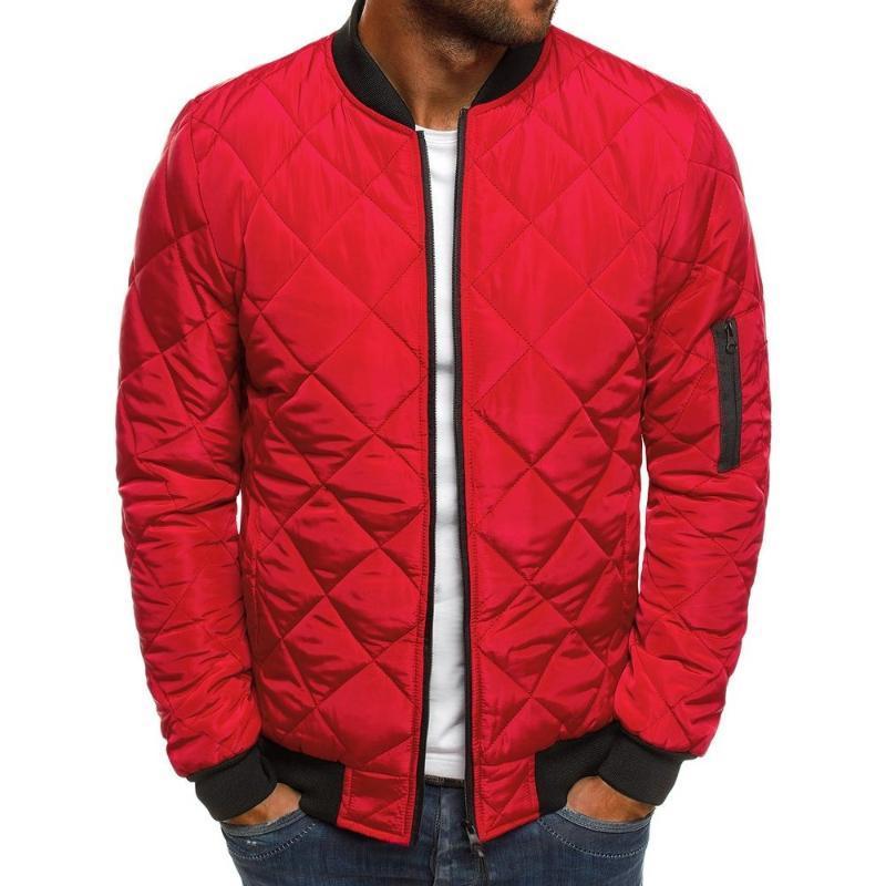 Men Winter Warm Cotton Argylic Jacket Casual Long Sleeve Bomber Coat Men's Clothing Motocycle Zipper Sportswear Black Red Blue