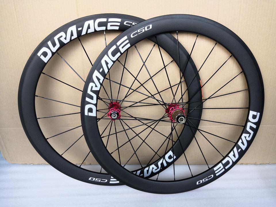 الطريق DURA ACE الكربون عجلات أنبوبي الفاصلة 50MM 60MM 700C العجلات لامعة ماتي 3K / UD