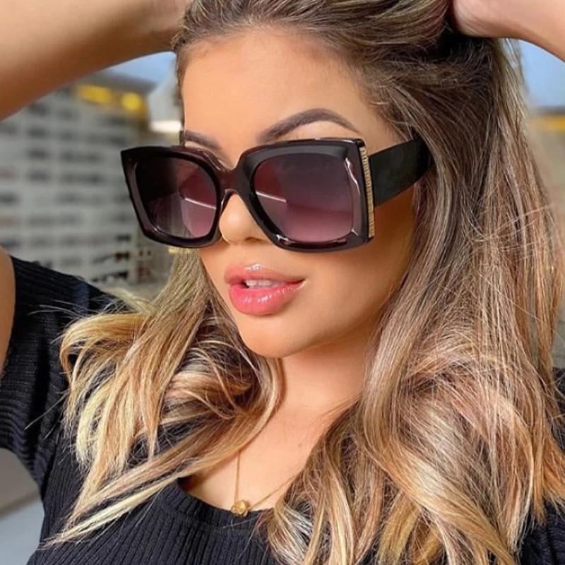 Quadratische Sonnenbrille Frauen Mode 2021 Neue Vintage Shades Männer Marke Design Luxus Große Rahmen Sonnenbrille UV400 Übergroße Brillen