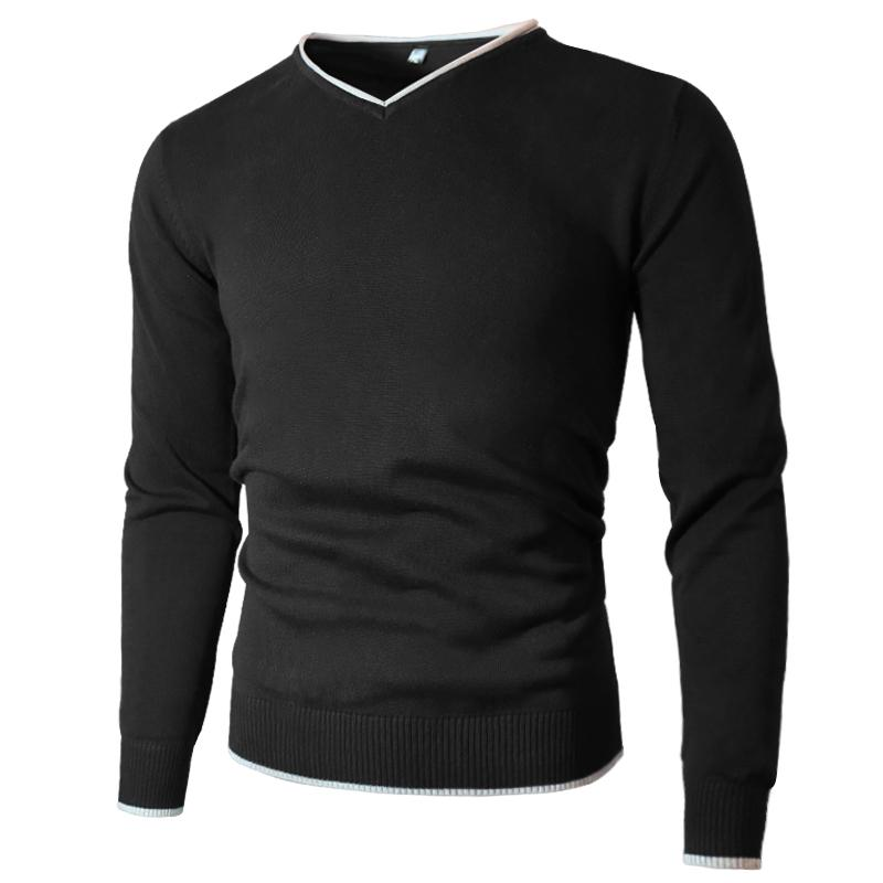 Hommes Pull Pull Sweaters Jersey Jumper V-Col V-Cou Automne Hiver Basic Knitwear Mâle Pullovers Solie Marque Solide Marque MULS