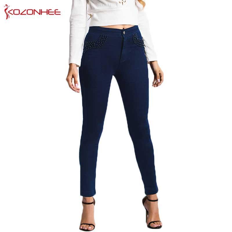 Mode Deep Blue brodé FlaresJeans femmes taille haute Elasticité Lady Skinny Jeans Crayon Slim Jeans Plus Size # 50