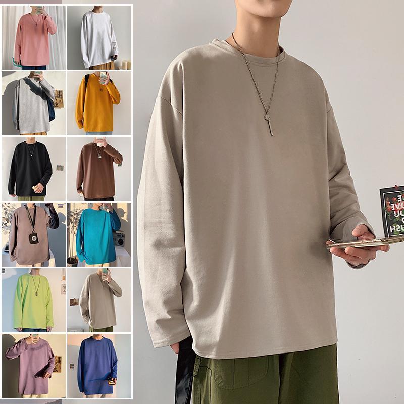 Hombre de color sólido blanco Manga larga coreana Hombre de gran tamaño Hombre de gran tamaño Casual Tee Streetwear de los hombres Camisetas