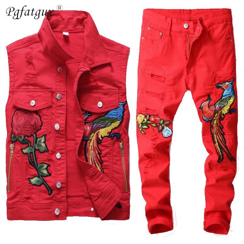 Famosos hombres nuevos conjuntos rojos moda otoño bordado fénix flower traje traje chaleco + pantalones ropa para hombre 2 piezas Conjuntos Slim Chacksuit 201109