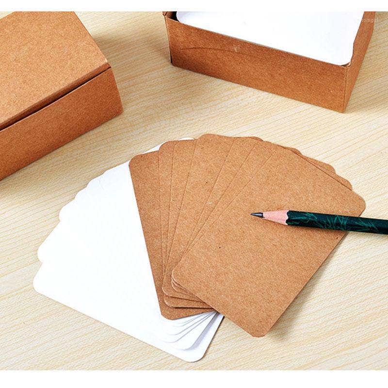 100 unids Tarjeta en blanco Vintage DIY Papel de felicitación Tarjetas Tarjetas Tarjetas Postales de Kraft Word Tarjetas Graffiti1